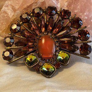 Stunning Vintage Crystal Sunburst  Brooch / Pin